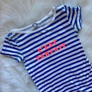 J. Crew Blue & White Striped C'est Parfait Tee